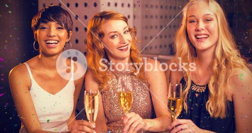 Composite image of portrait of friend having champagne