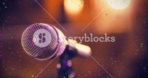 Composite image of close-up of microphone
