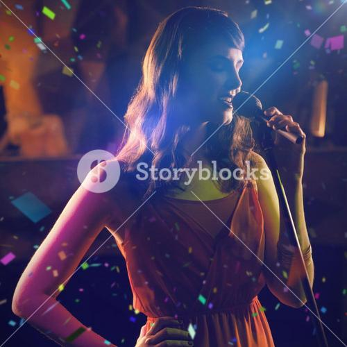 Composite image of woman singing in bar