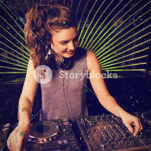Composite image of pretty female dj playing music