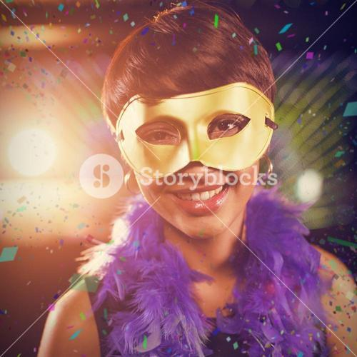 Composite image of woman wearing masquerade in bar