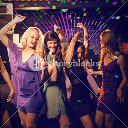 Composite image of group of smiling friends dancing on dance floor
