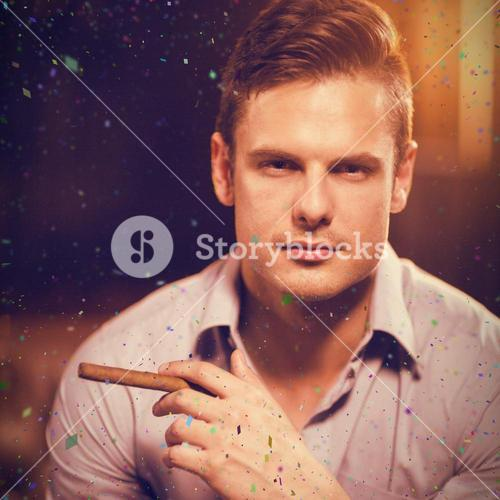 Composite image of portrait of man holding cigar and glass of whisky