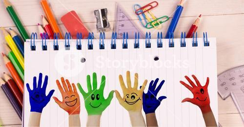 Kids' hands colored