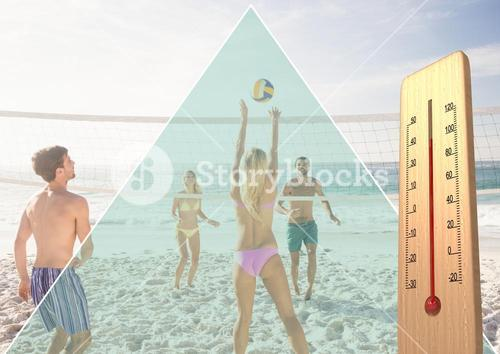 teens playing beach volley