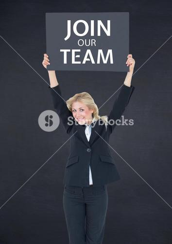 """Woman with sign """"join our tean"""""""