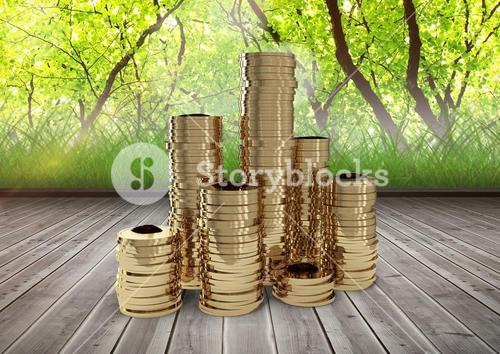 Coins in front of trees
