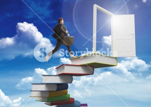 Businessman stairs with books