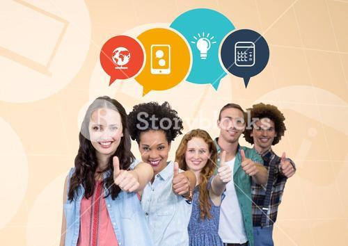 Group of teen wiht thumbs up