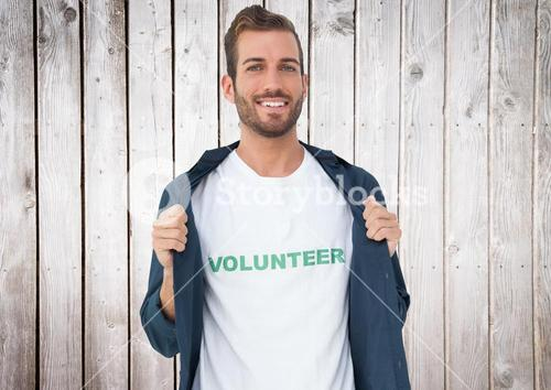 Man volunteer with shirt
