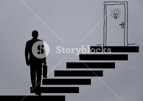 shadow man using stairs