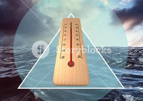 Thermometer in front of sea