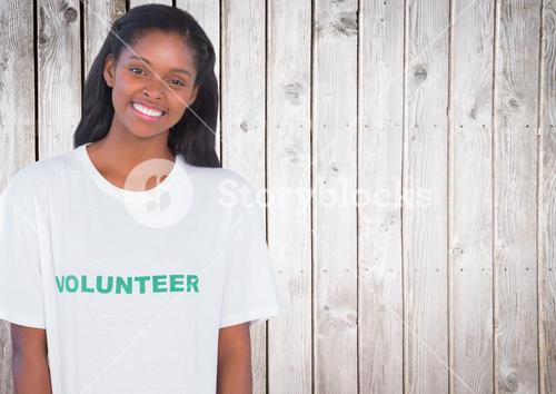 Woman with tee shirt for volunteer