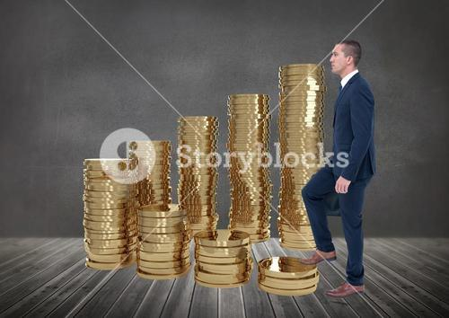 Businessman using stairs made with coins