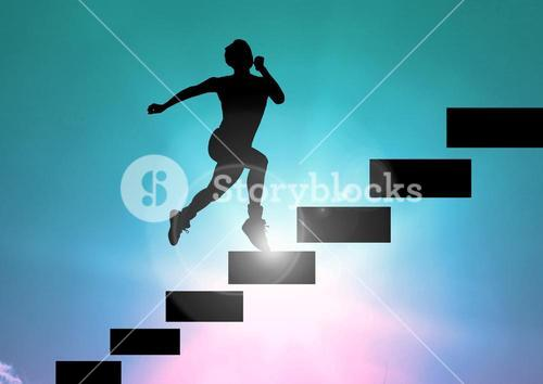 Shadow of man running in stairs