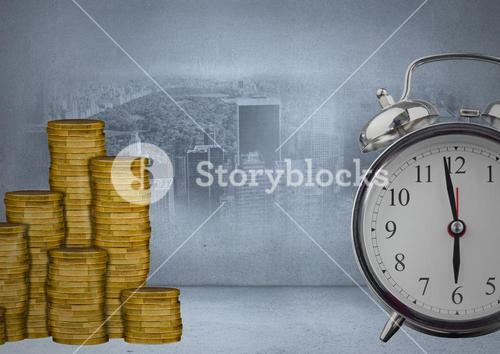 Money and clock against city backround