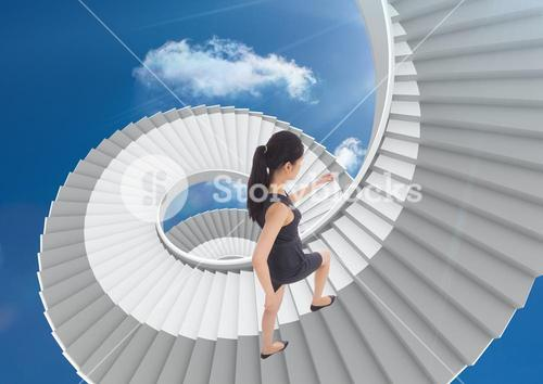 Businesswoman climbing infinite stairs in the sky