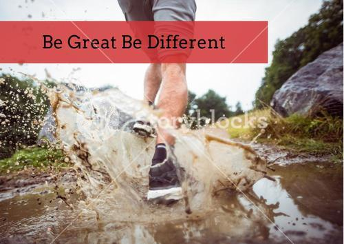 Sportman running in mud with motivation quote