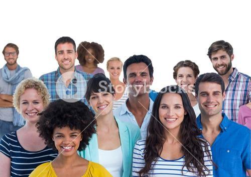 Group of smiling people against white background