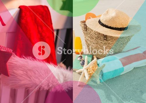 Straw hat and towel kept on beach chairs at tropical sand beach