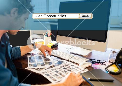 Job offering text and businessman working at office