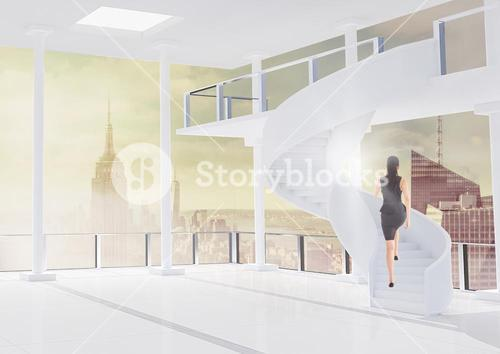 Businesswoman in flat against city background