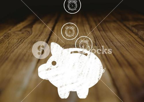Drawing of piggybank on wooden table