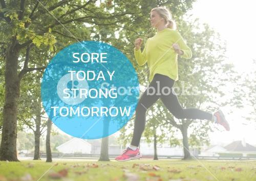 Quote and shape on running woman picture