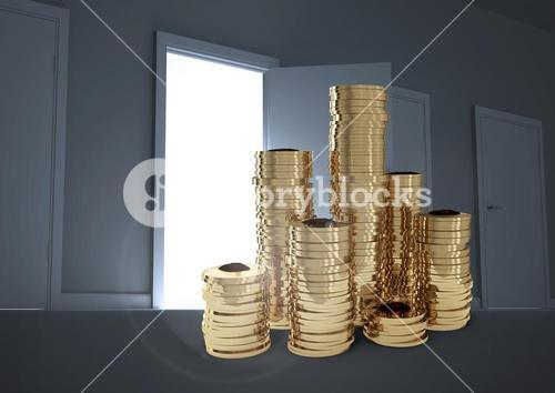 Money in front of open door