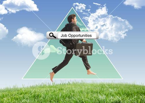 Browser research and jumping businessman against sky background