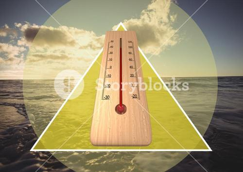 Thermometer and shape against ocean background