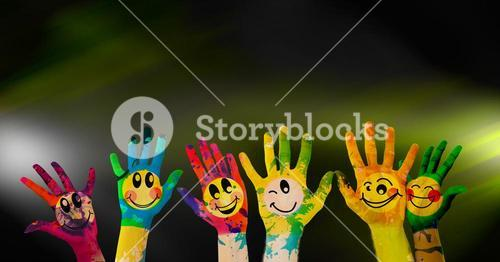 Painted hands against black background