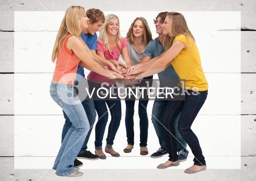 Cheerful group of friend against grey background