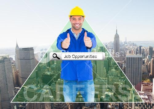 Smiling worker thumbs up against city background