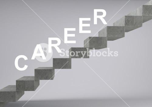 Stairs of career against grey background