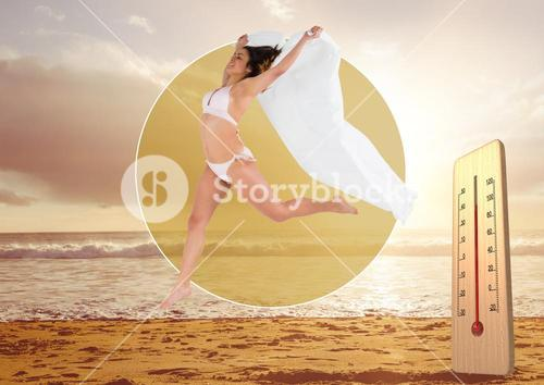 Thermometer and jumping woman against beach background