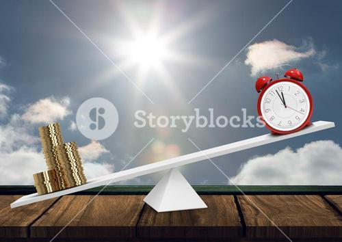 Clock and money on balance against sky background