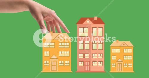 Hand and building drawing against green background