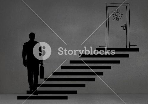 Man silhouette climbing stairs against grey background