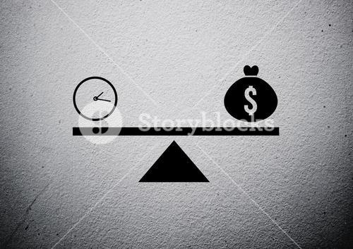Clock and money on balance against grey wall
