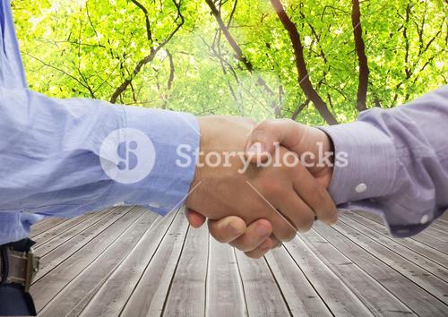 Shaking hands against wooden background