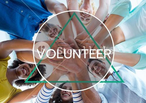 Text and shape against picture of happy group of volunteer