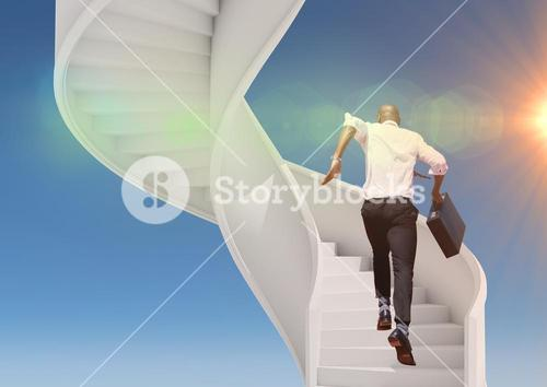 Picture of businessman climbing stairs against sky background