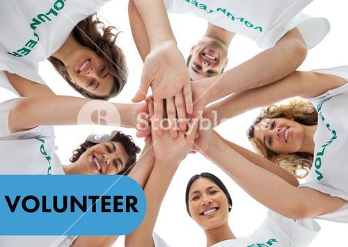 Cheerful group of volunteer in circle