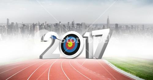 2017 sign on running track against city background