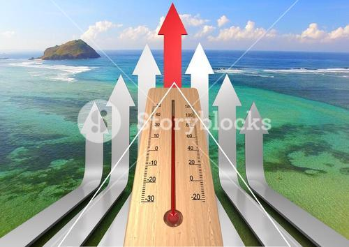 Thermometer and flitch against paradisaical background