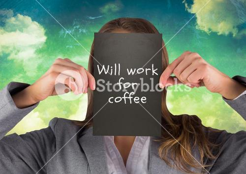 Businesswoman holding billboard against colorful background