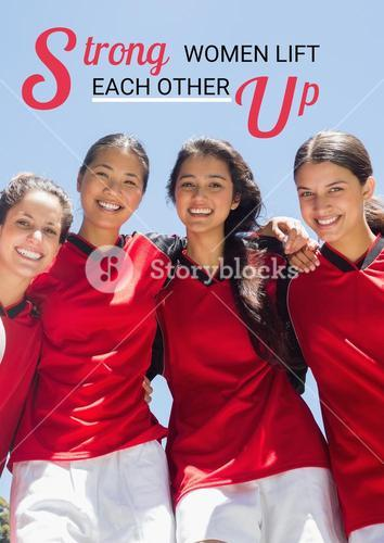 Text against picture of cheerful women sport team