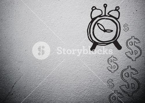 Time and money drawing against grey background