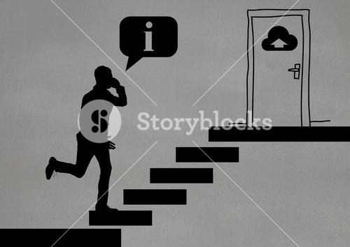 Silhouette of businessman climbing stairs against grey background